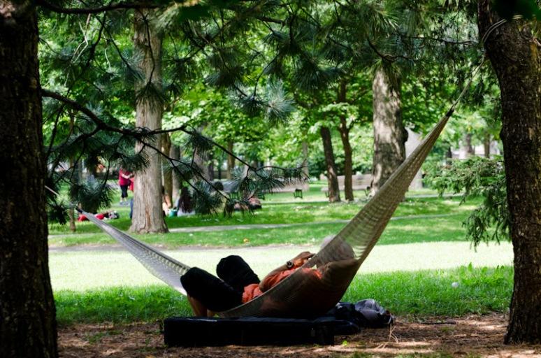 Taking it easy in a hammock