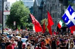 Student protesters walk East on Sherbrooke