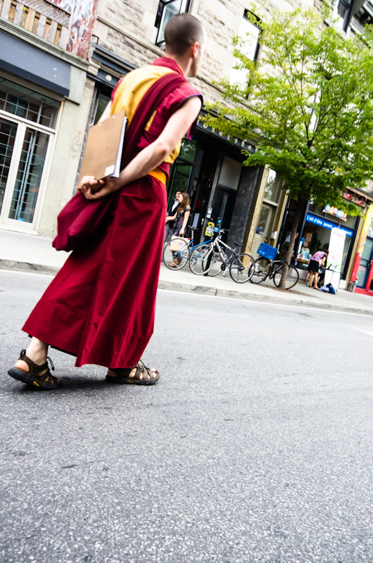 Buddhist monk on blvd Saint Laurent