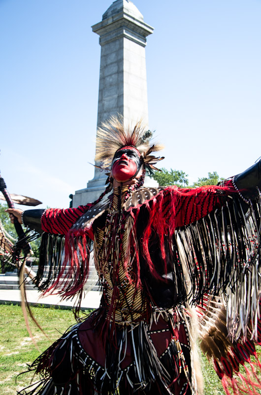 Native American demonstrates against clear-cutting practices