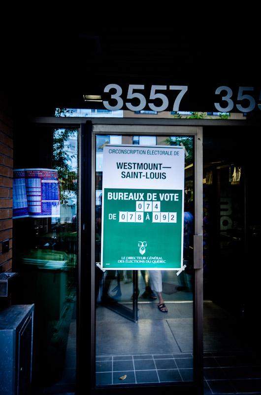Polling station entrance on rue Saint Urbain