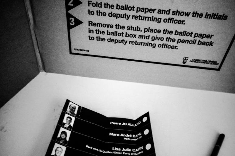 Quebec provincial election Ballot Paper