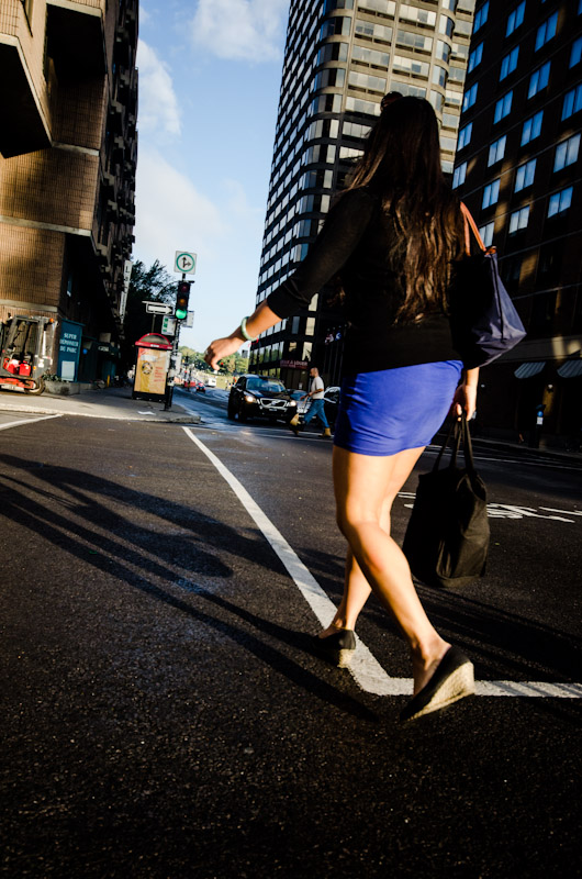 Girl crossing street