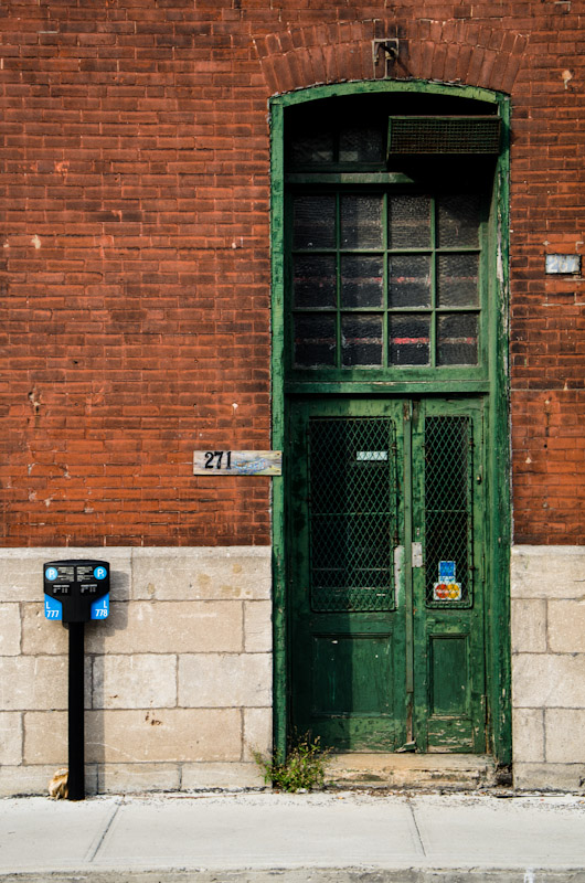 Parking meter and green door