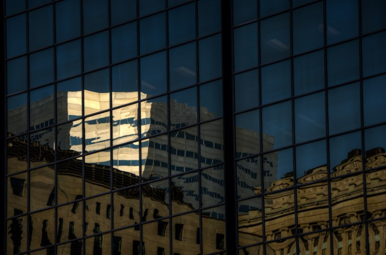Office tower window reflections