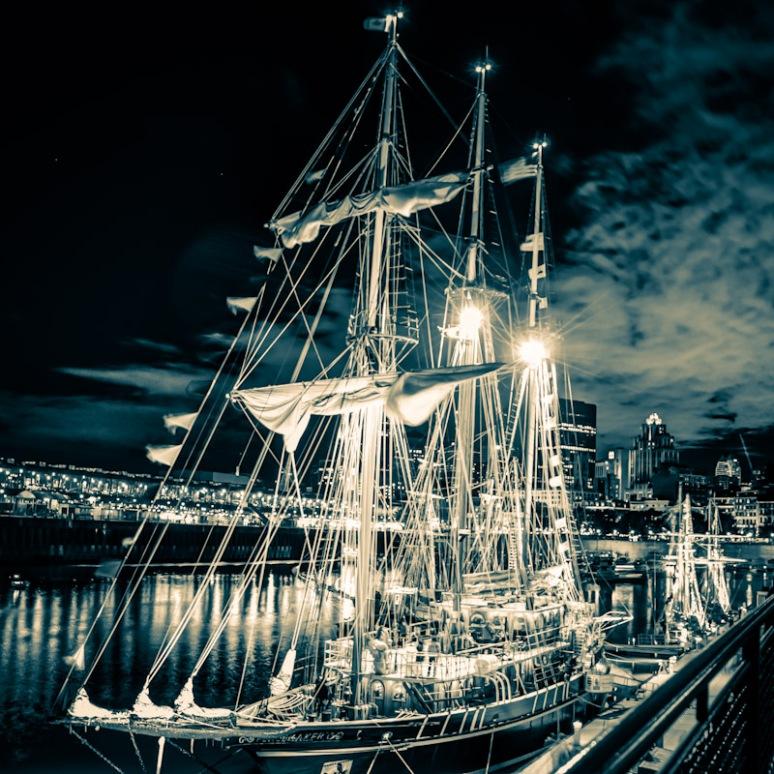 Montreal Tall Ship Festival at night