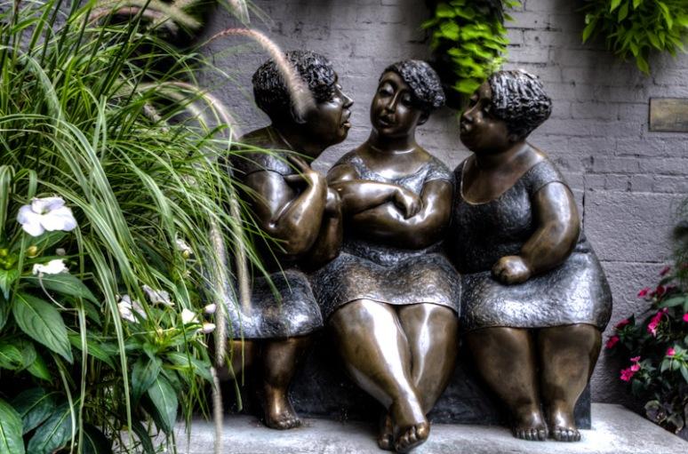 Les Chuchoteuses sculpture by Rose-Aimée Bélange