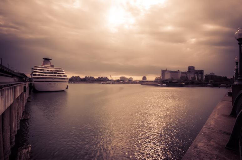 Cruise ship in Old Port of Montreal