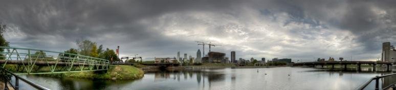 Montreal skyline panorama at Bassins Peel