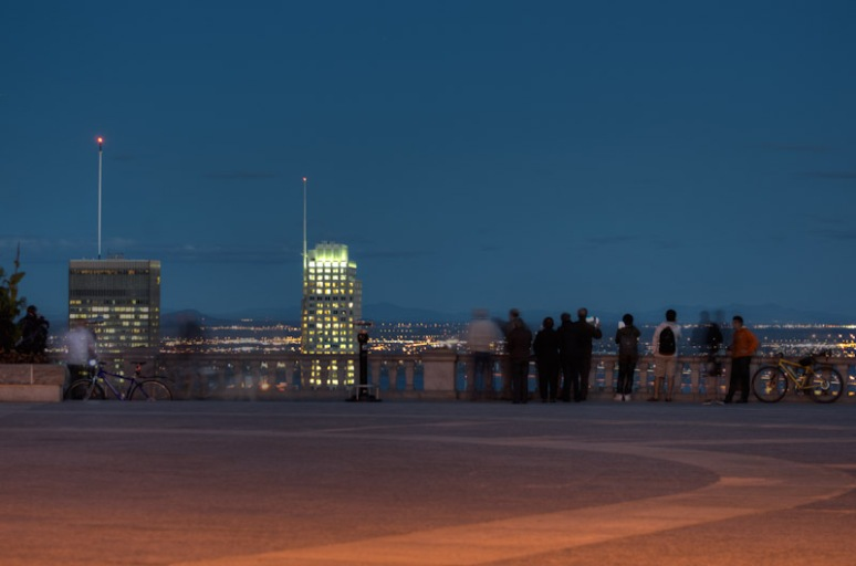 People enjoying Montreal skyline at night