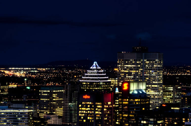 A section of Montreal skyline at night