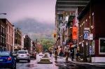 A misty Mount Royal from rue Rachel