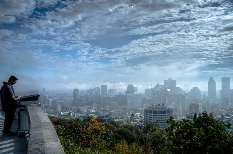 Montreal skyline under veil of mist