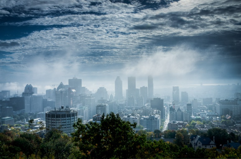 Fog over Montreal skyline