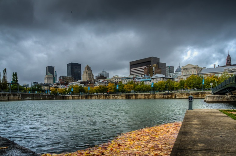 Montreal skyline from basin Bonsecours