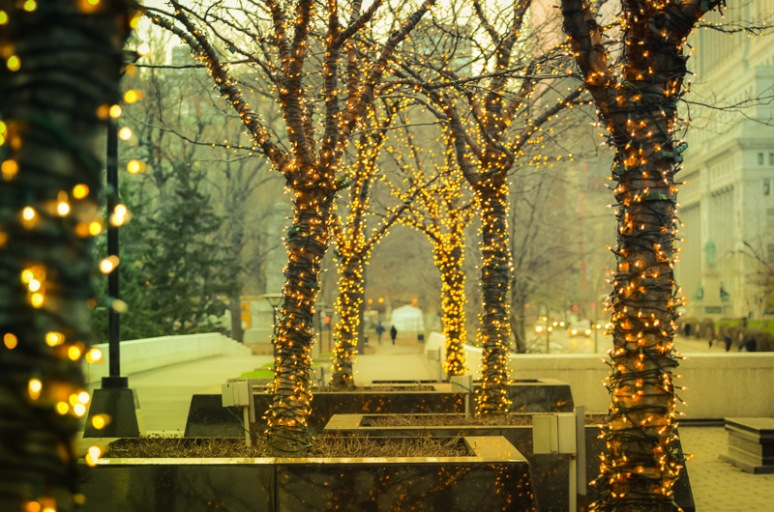 Christmas lights at elevated walkway near Place du Canada