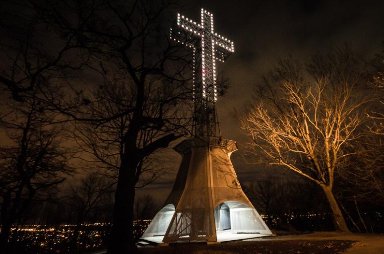 Mount Royal Cross at night