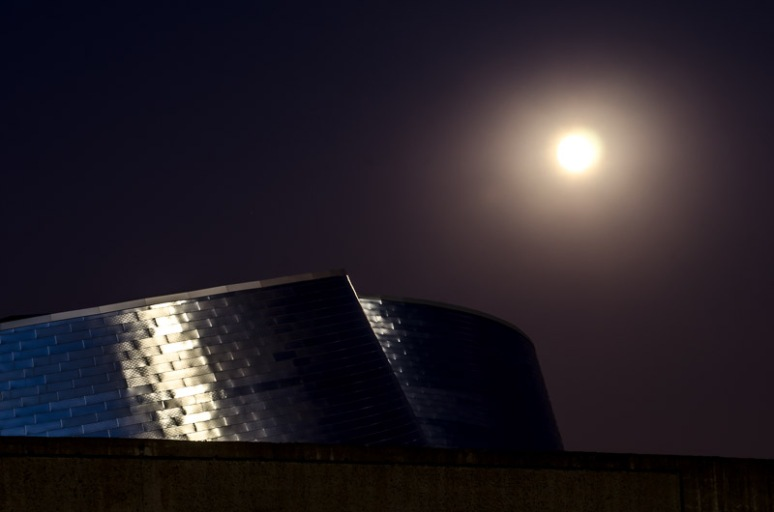 Montreal's new Planetarium beneath the moon
