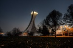 Montreal Olympic Stadium at night