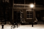 Bike under a street lamp