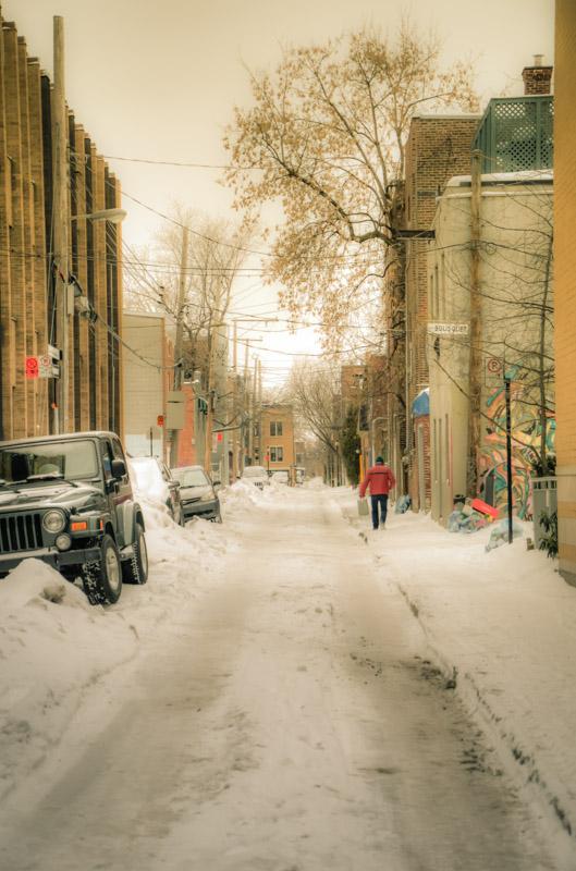 Alley under snow