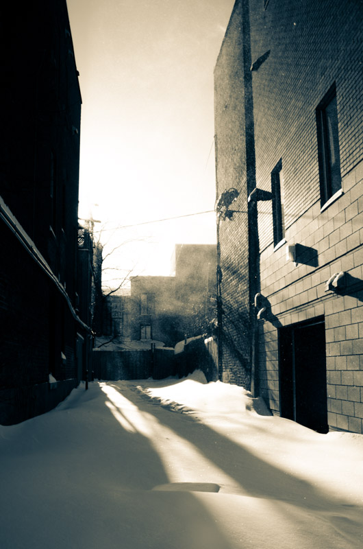 Snow filled alley