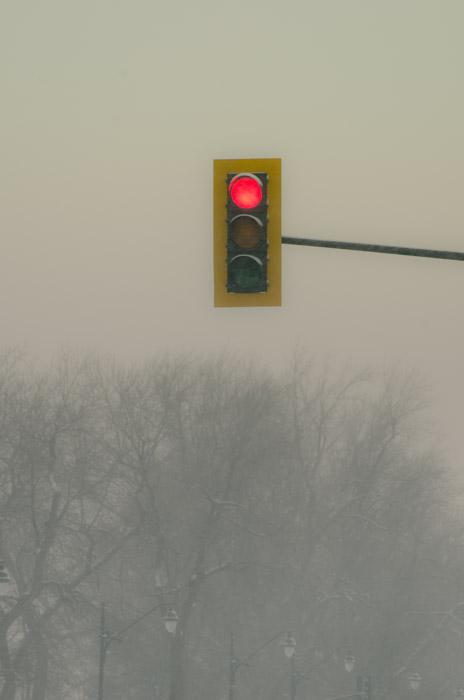 Traffic light in the snow