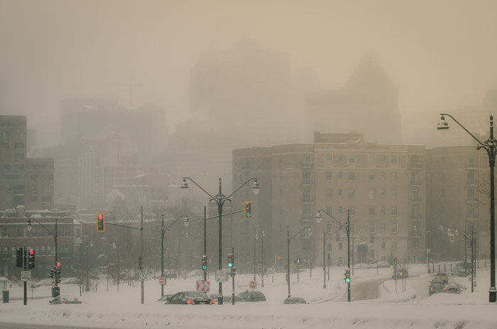 Montreal skyline softened by snow
