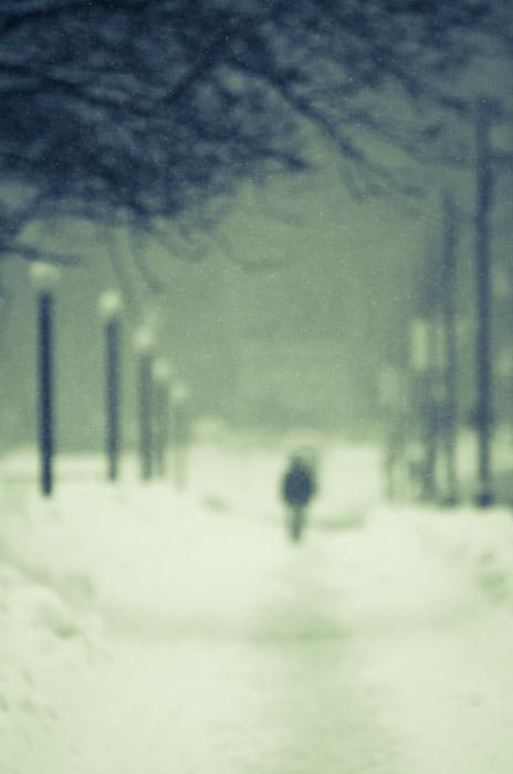 Walker in the blizzard
