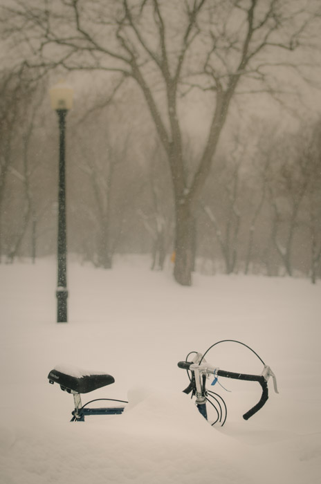 Buried bike in the snow