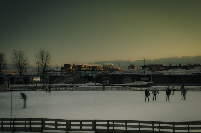 Ice skating at Bassin Bonsecours